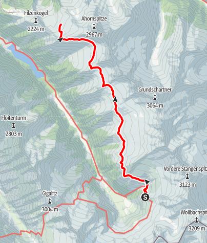 Karte / Berliner Höhenweg g. UZS, Etappe 7: Kasseler Hütte - Karl-von-Edel-Hütte