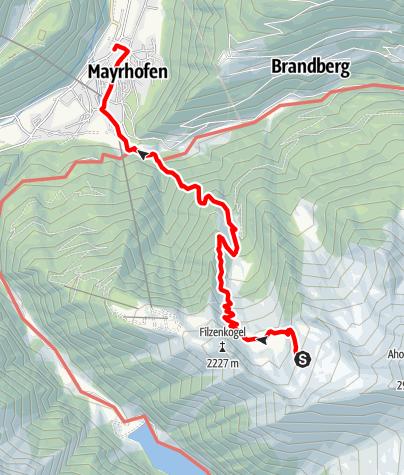 Karte / Berliner Höhenweg g. UZS, Etappe 8 (letzte): Karl-von-Edel-Hütte - Mayrhofen