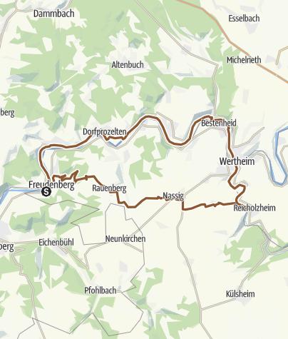 Karte / Rundtour Freudenberg am Main nach Sachsenhausen an der Tauber, Wertheim