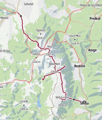 Map / 6 days trekking tour in Bucegi mountains