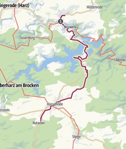 Map / Mittwoch: Blauer See --> Rappbodetalsperre --> Harzköhlerei --> Hasselfelde