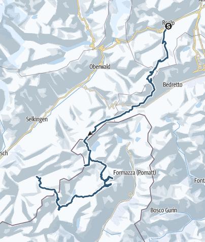 Karte / Tour de Soleil/ in sechs Tagen von Realp ins Binntal