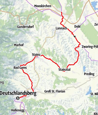 Karte / Etappe 02 Weinland Steiermark Radtour Deutschlandsberg - Lieboch