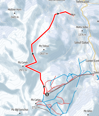 Karte / Piz Curvér 2972 m ü.M.