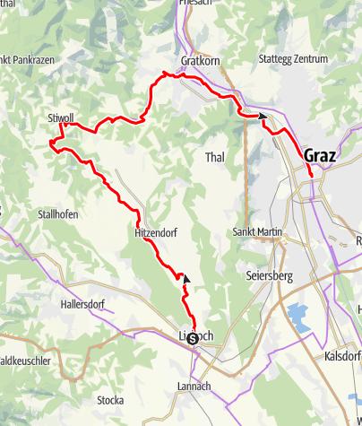 Karte / Etappe 03 Weinland Steiermark Radtour Lieboch - Graz