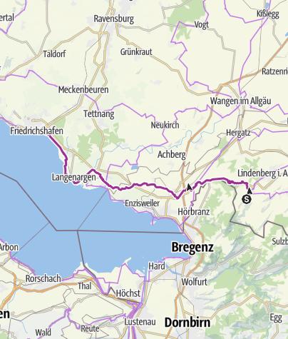 Hartă / Scheidegg-Friedrichshafen, via Sigmarszell und Langenargen