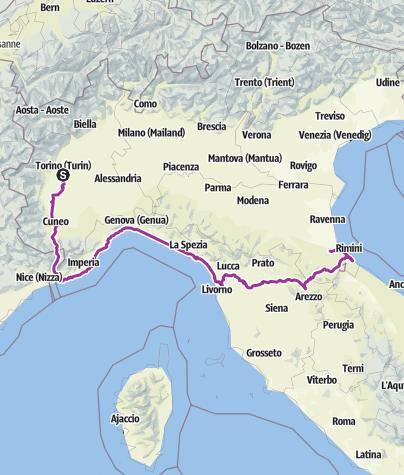 Karte / Turin - Rimini