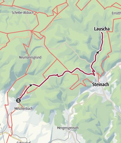 """Karte / Wanderung """"Fabrikantensteig"""" von Rauenstein nach Lauscha"""