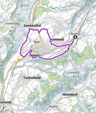 """Karte / Sportland Sumiswald Laufstrecke ,,Dorfcher"""""""