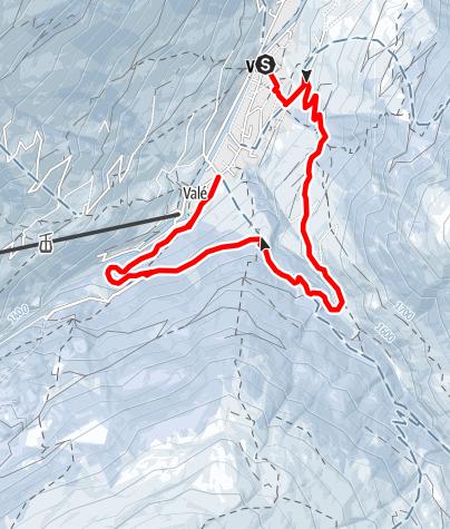 Map / Winterwanderweg Vals -  Rongg - Illagrass - Polenhütte - Vals