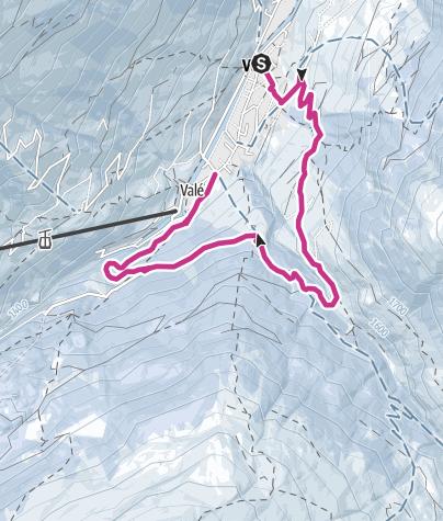 Karte / Winterwanderweg Vals -  Rongg - Illagrass - Polenhütte - Vals