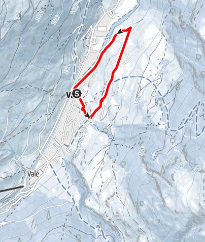 Map /  Winterwanderweg Vals - Böörtli - Rovanada - Platz