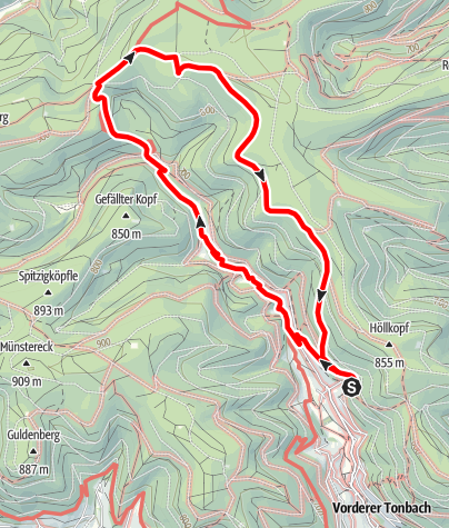 Karte / Wanderung zum Genussplatz am Oberer Zinken Tonbach