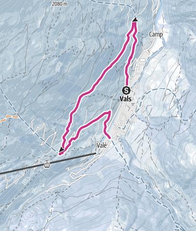 Karte / Winterwanderung Vals - Soladüra - Zorts - Leis - Vals