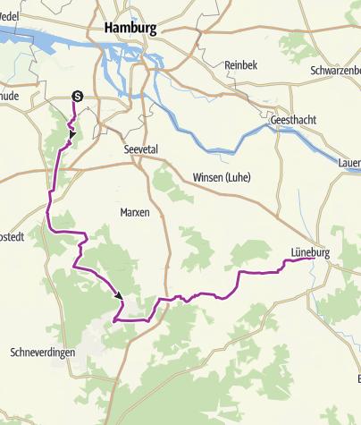 Map / Hamburg-Neuwiedentahl to Lüneburg