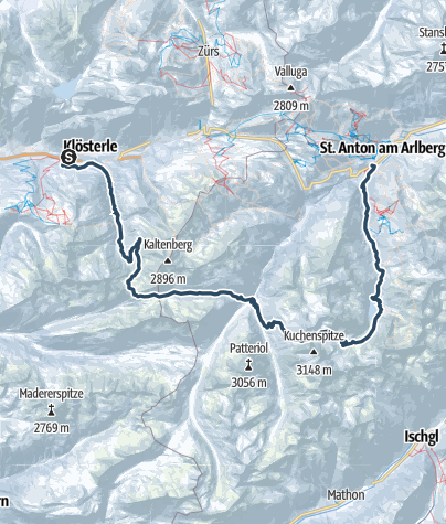 Karte / Verwall Selbstversorger-Skitour
