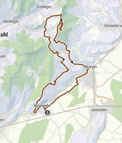 Karte / Tour 401.  Kaiserstuhl. Von Wasenweiler zum Aussichtsturm Eichelspitze