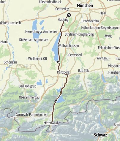 Karte / Transalp 2019 Etappe 1 München - Seefeld