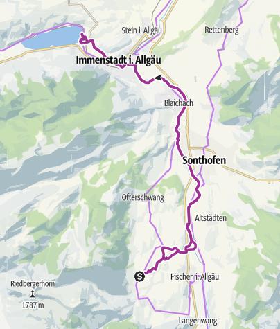 Karte / Mit dem Fahrrad auf dem Illerradweg zum Alpsee bei Immenstadt