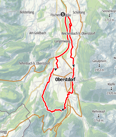 Karte / Radrunde um Oberstdorf ab Fischen