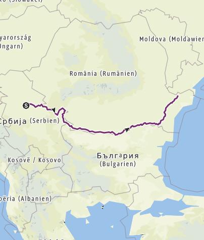 Karte / Donauradweg 2019 Belgrad - Schwarzes Meer (Tulcea)
