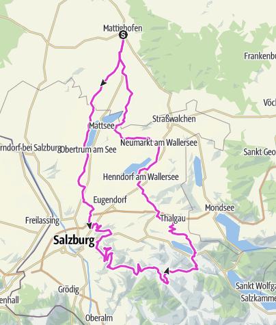 Map / Rennrad-Tour: Gaisberg, Heuberg, Strubklamm, 7 Seen