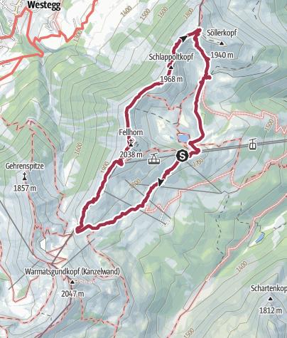 Map / Spektakuläre Gratwanderung auf dem Fellhornvon der Mittelstation