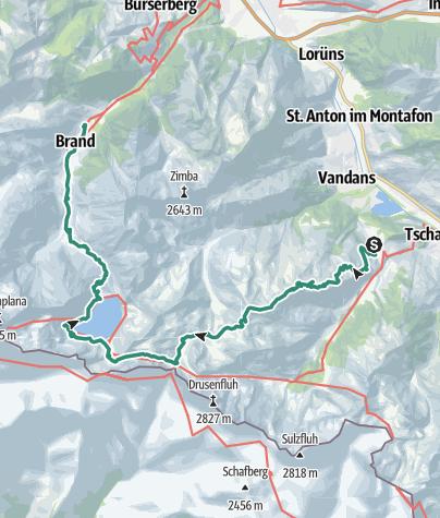 Carte / Tschagguns-Kreuzjoch-Schweizer Tor-Lünersee-Brand