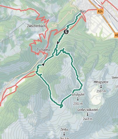 Carte / Bürs-Bürserschlucht-Nonnenalpe-Zwölverjoch-Sarotlahütte-Bürserschlucht-Bürs