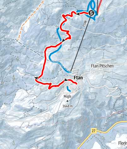 Map / Abfallender Panoramaweg Ftan - Prui