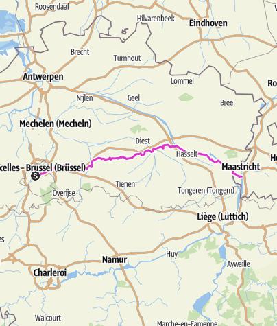 Karte / Tag 6 Brüssel - Maastricht