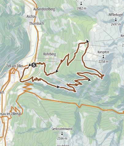 Karte / Zell am Ziller-Gerlosberg-Kreuzwiesenalm-Rosenalm-Zell a. Ziller