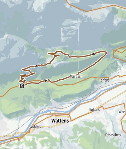 Karte / Vomper Loch - Ganalm - Walder Alm - Hinterhornalm