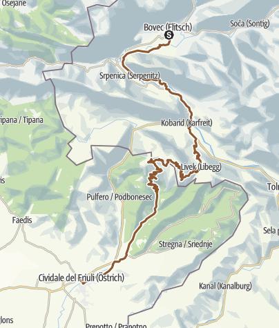 Karte / Etappe7: Transalp Salzburg-Dachstein-Obertauern-Triglav-Udine