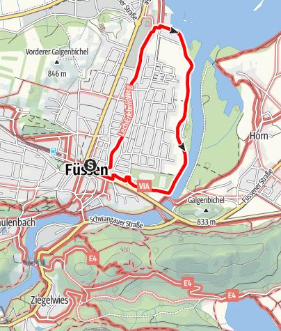 Karte / Vitaltour 3: Zum Bootshafen Füssen