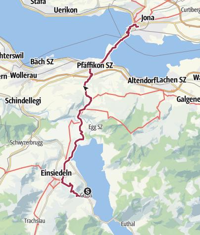 Map / Hike Einsiedeln to Stäfa