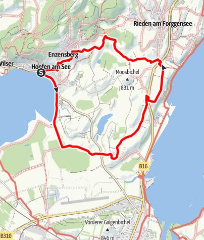Karte / Vitaltour 16: Eschacher Panoramrunde ab Hopfen am See