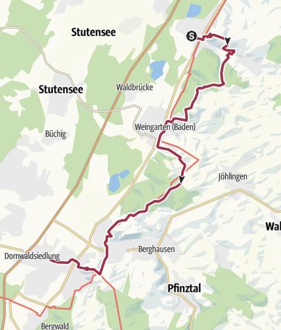 Karte / 29.02.20: Sportive Wanderung bei Karlsruhe - Von Untergrombach - Durlach