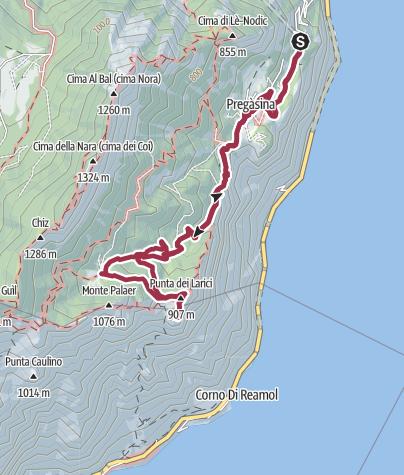 Karte / Von Pregasina auf die Punta Larici und Malga Palaer