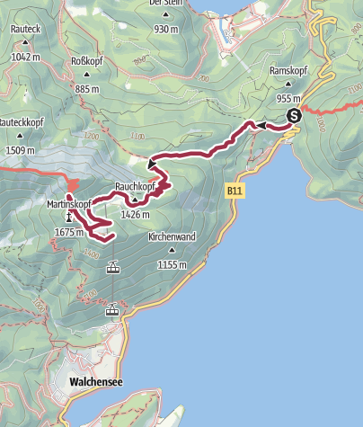Map / Wachelsee - Martinkopf - Herzogstandbahn