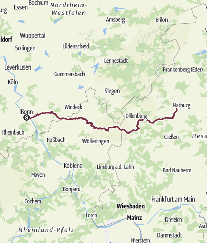 Karte / Von Bonn nach Marburg in 10 Tagen