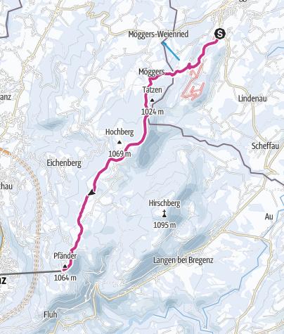 Karte / Wintersonne auf dem Höhenweg von Scheidegg zum Pfänder