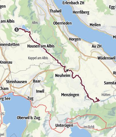 Karte / Transalp E05 Aeugst am Albis - Hütten