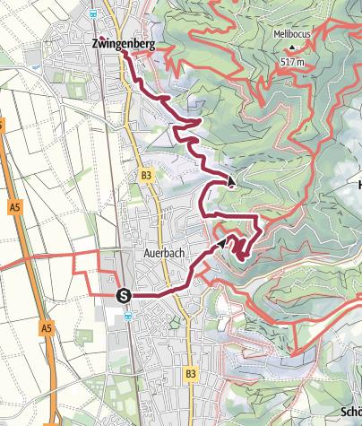 Karte / Von Zwingenberg üb. Auerbacher Schloss n. Zwingenberg