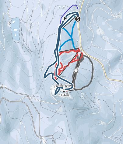 Map / Großer Arber (1.456 m) mit Ski flach ansteigend von Norden