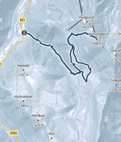 Karte / Hochschlegel (1.688 m) im Lattengebirge von Baumgarten