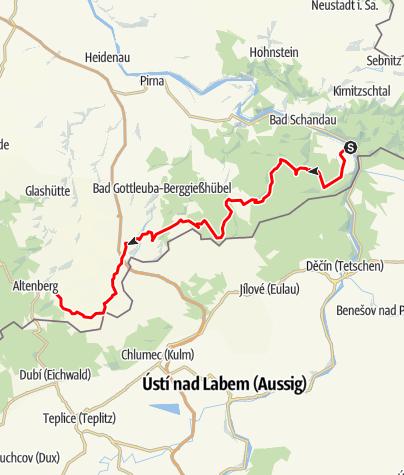 Karte / RR ERZ E01 Etappentour Radfernweg Sächsische Mittelgebirge und Erzgebirgsradmagistrale Etappe 01