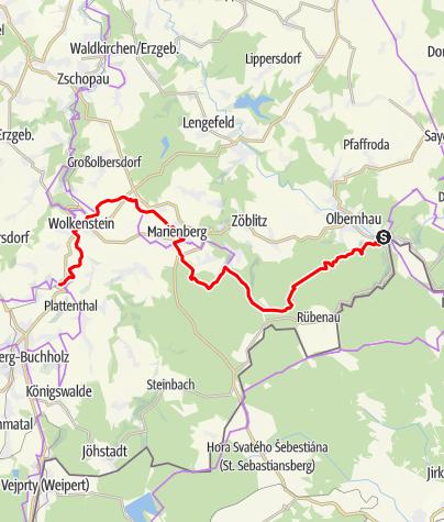 Karte / RR ERZ E03 Etappentour Radfernweg Sächsische Mittelgebirge und Erzgebirgsradmagistrale Etappe 03