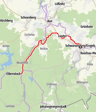 Karte / RR ERZ E05 Etappentour  Radfernweg Sächsische Mittelgebirge und Erzgebirgsradmagistrale Etappe 05