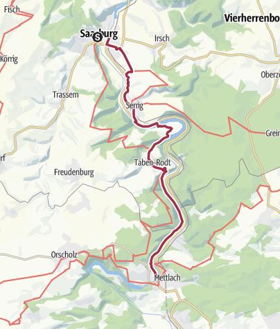 Map / route van Saarburg tot Schloss Saareck 20. km